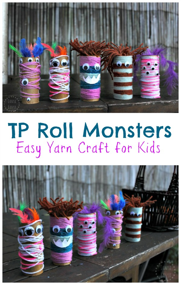 Toilet Paper Roll Monsters - easy yarn and googly eye craft for kids