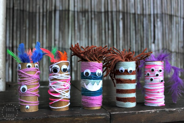 Yarn-wrapped monster craft