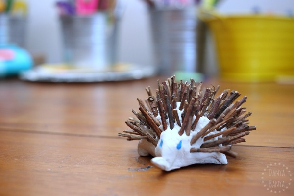Echidna clay and stick craft