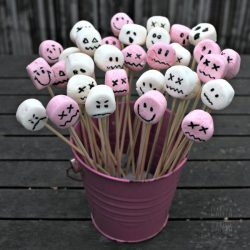 Spooky marshmallow face sticks - fun Halloween themed party food