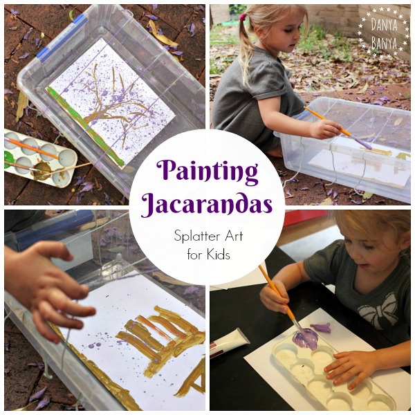 Painting Jacaranda trees when the flowers are blooming - splatter art idea for kids