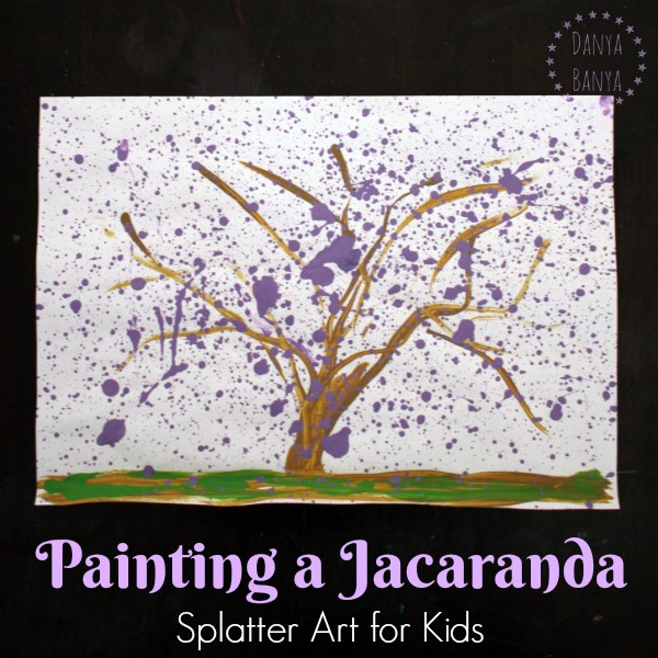 Painting a Jacaranda - splatter art for kids
