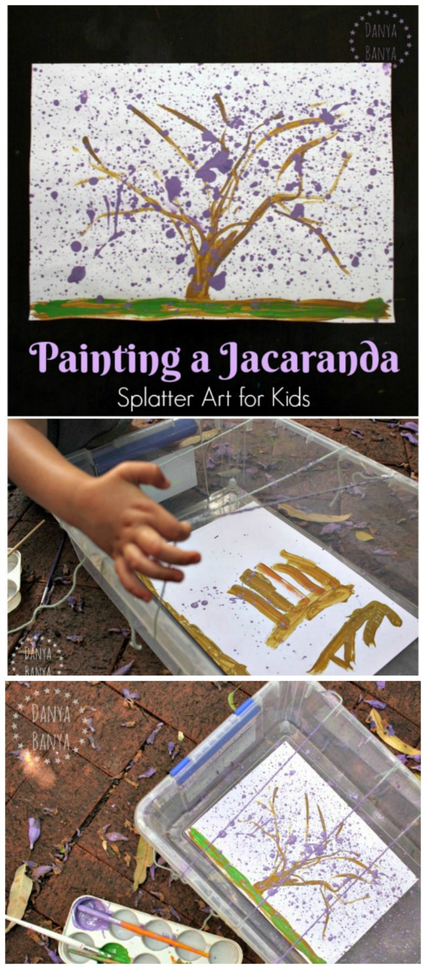Painting a Jacaranda tree - so many purple flowers! Fun splatter art idea for kids.