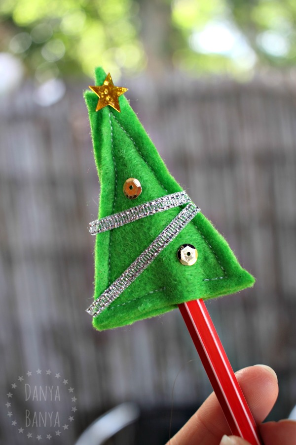 Christmas tree pencil topper gift