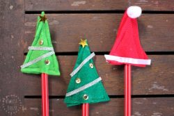 DIY Christmas tree and Santa hat pencil toppers - great for class gifts for school