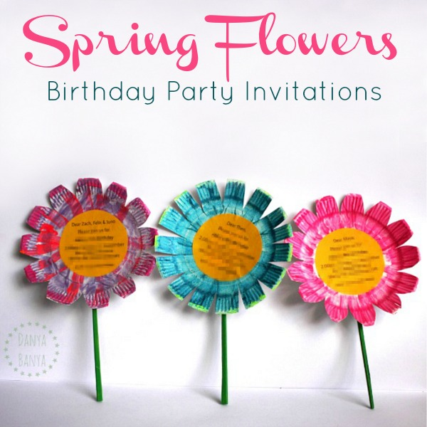 Flower birthday party invitations diy tutorial danya banya easy diy spring flowers birthday party invitations that kids can help make stopboris Choice Image