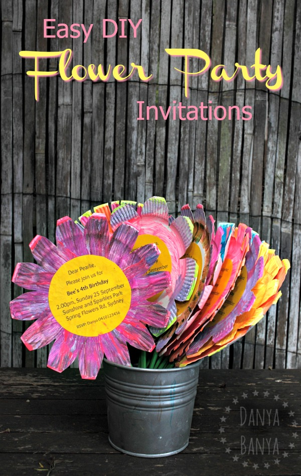 Flower birthday party invitations diy tutorial danya banya easy diy paper plate flower birthday party invitations that kids can help make awesome filmwisefo