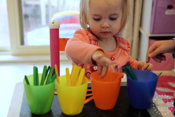 Colour matching with craft sticks and cups