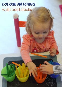 Colour matching with craft sticks - easy activity for toddlers & preschoolers