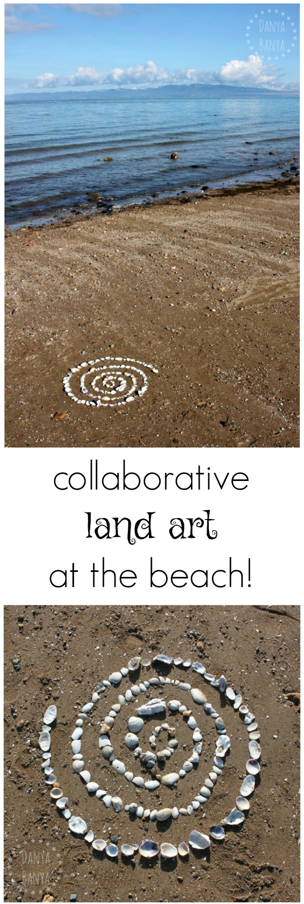 Shell spiral - collaborative land art for kids at the the beach.