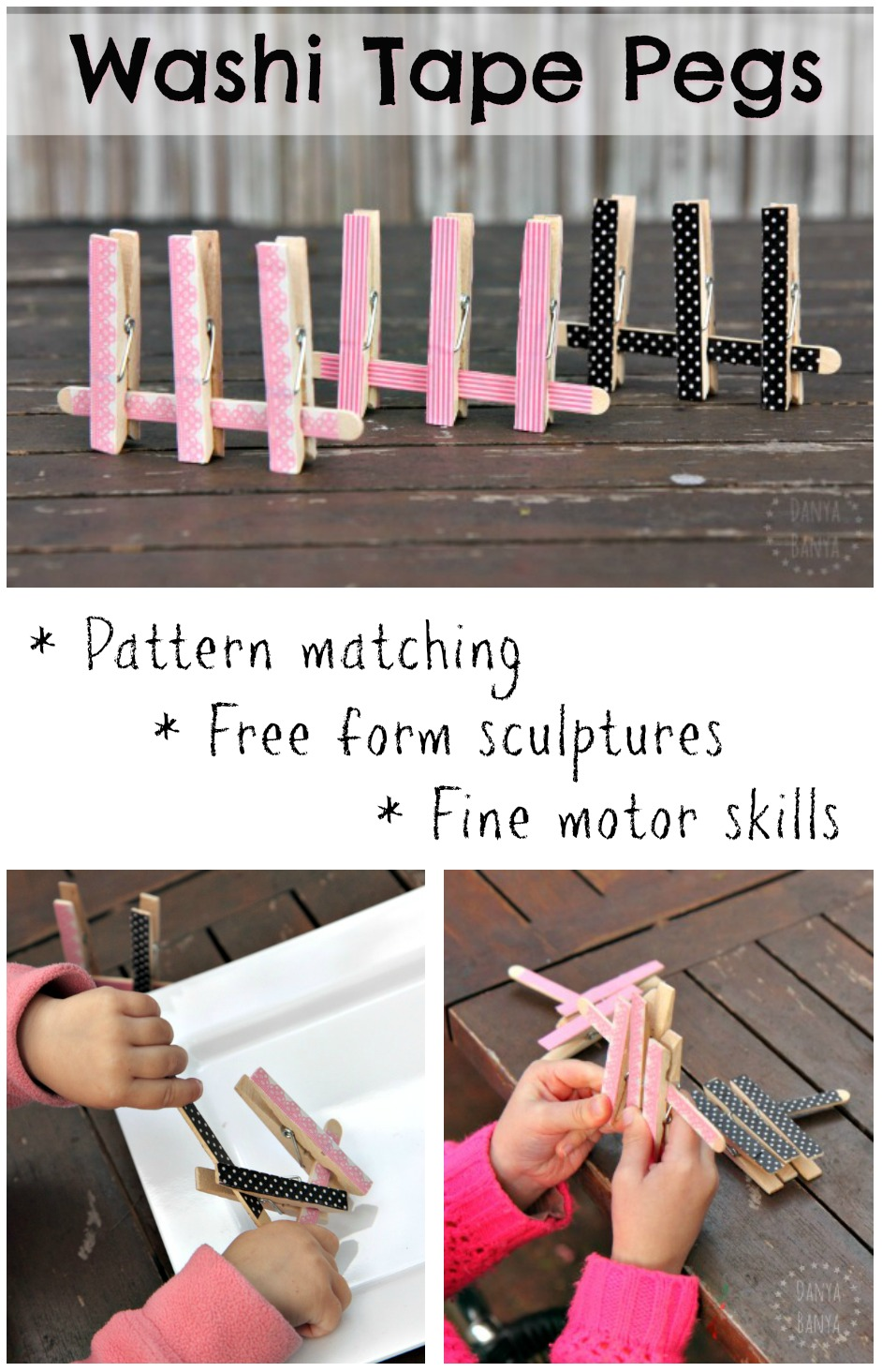 DIY washi tape clothes pin peg game - great for pattern matching, free form sculpture and fine motor skills for toddlers