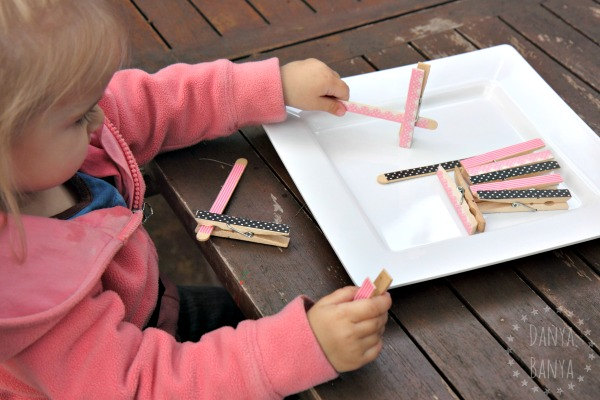 Washi tape pattern matching game for toddlers, great for fine motor skills