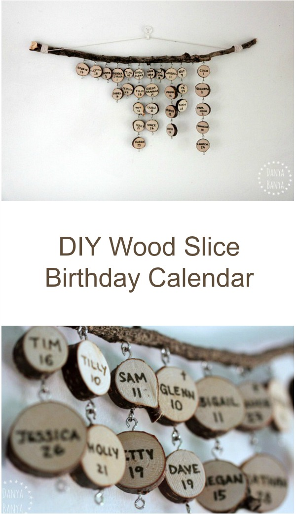 DIY hanging wood slice family & friends birthday calendar - looks great hanging on the wall, and makes a lovely homemade gift!