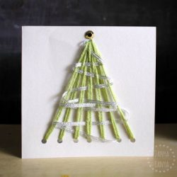 Easy DIY homemade yarn Christmas tree cards - that kids can make. Square