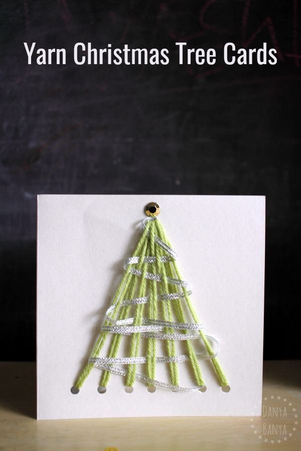 Easy DIY homemade yarn Christmas tree cards - that kids can make