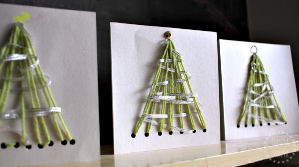 Homemade yarn laced Christmas tree greeting cards