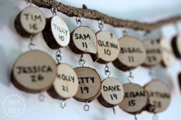 Make a DIY wood slice birthday calendar mobile