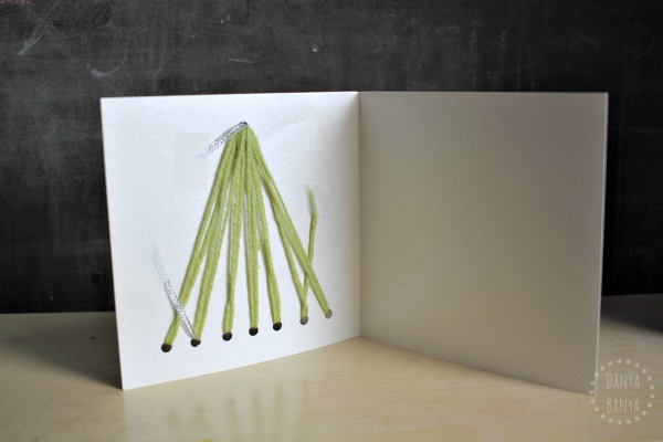 Yarn Christmas tree card - inside