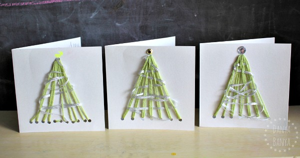 Yarn Christmas tree cards