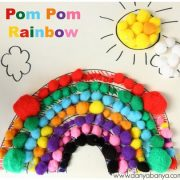 Pom Pom Rainbow Collage