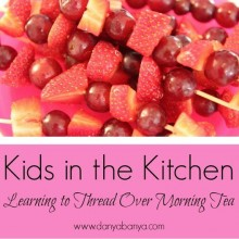 Kid-made fruit skewers