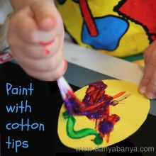 Easter egg painting with cotton tips