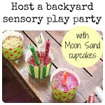 Backyard sensory play party with Moon Sand cupcakes