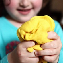 Hand strengthening with lemon scented play dough
