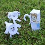 Toilet paper roll Little Bo Peep and lambs