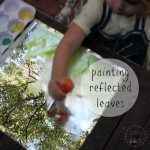 toddler process art idea painting reflected leaves