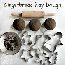 Gingerbread Play Dough for Christmas sensory play for kids. (No cook recipe)