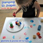 2D Shape Stamping with 3D Blocks - geometry and process art for kids