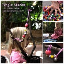 Jingle Sticks - percussion instrument craft for kids