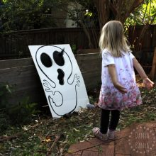 Halloween Games: DIY bean bag toss (cornhole) ghost and skull boards