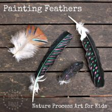 Painting Feathers - nature process art for kids