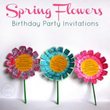 Easy DIY Spring Flowers birthday party invitations, that kids can help make!